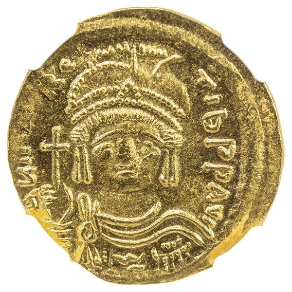 BYZANTINE EMPIRE: Maurice Tiberius, 582-602, AV solidus (4.48g), Constantinople. NGC MS