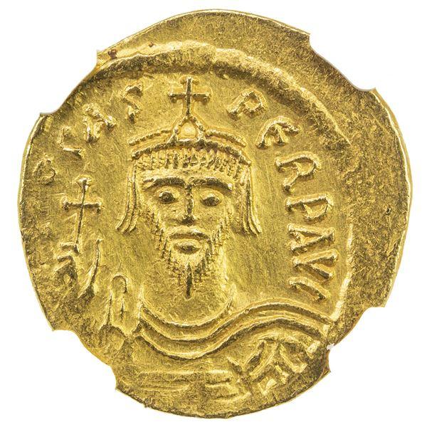BYZANTINE EMPIRE: Phocas, 602-610, AV solidus (4.43g), Constantinople. NGC AU