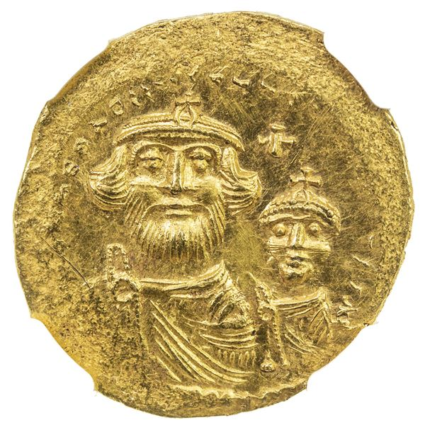 BYZANTINE EMPIRE: Heraclius, 610-641, AV solidus (4.42g), Constantinople. NGC EF