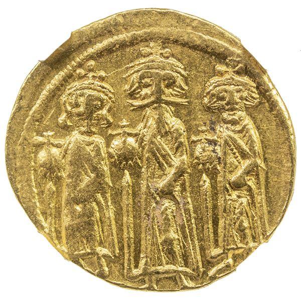 BYZANTINE EMPIRE: Heraclius, 610-641, AV solidus (4.45g), Constantinople. NGC AU