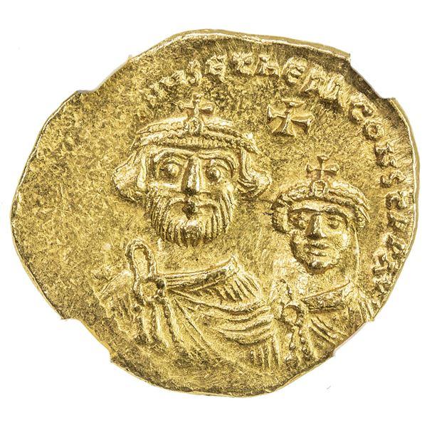 BYZANTINE EMPIRE: Heraclius and Heraclius Constantine, AD 613-641, AV solidus (4.40g), ND. NGC MS