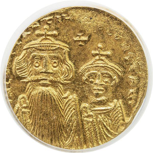 BYZANTINE EMPIRE: Constans II, 641-668, AV solidus (4.46g), Constantinople. ICG MS63