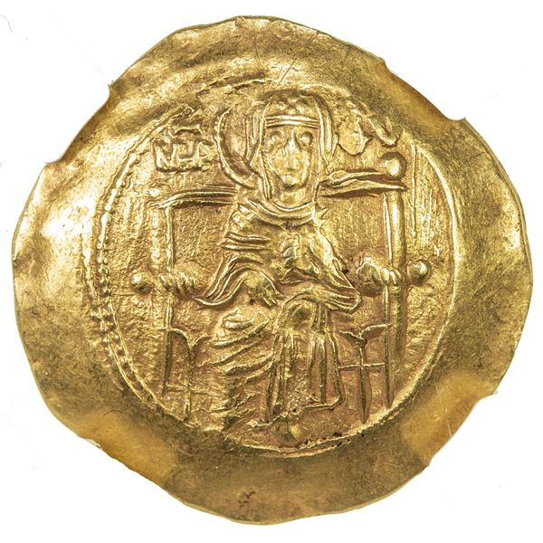 BYZANTINE EMPIRE: Isaac II Angelus, 1185-1195, AV hyperpyron, Constantinople. NGC AU