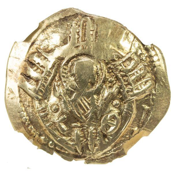 BYZANTINE EMPIRE: Andronicus II and Michael IX, 1295-1320, AV/EL hyperpyron, Constantinople. NGC EF