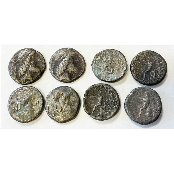 CHARACENE: Attambelos, ca. 47-25 BC, LOT of 8 silver tetradrachms struck at Charax-Spasinu
