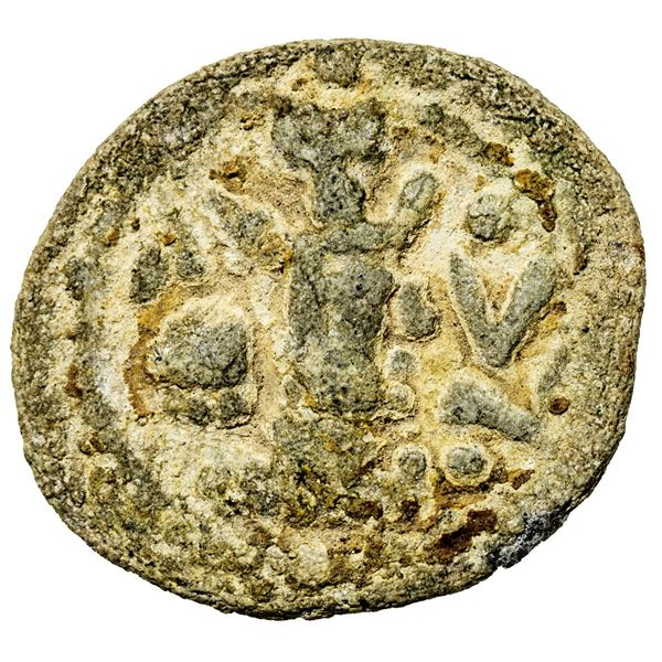 SASANIAN KINGDOM: Yazdigerd II, 438-457, lead pashiz (1.85g). F
