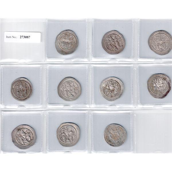 SASANIAN KINGDOM: Khusro I, 531-579, LOT of 10 silver drachms