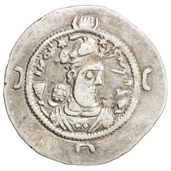 SASANIAN KINGDOM: Varhran VI, 590-591, AR drachm (4.02g), GD (Jayy), year 1. VF