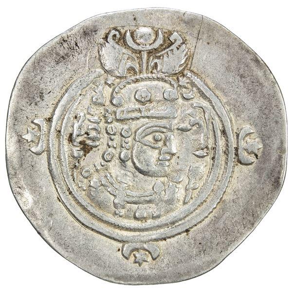SASANIAN KINGDOM: Queen Boran, 630-631, AR drachm (4.03g), ST (Istakhr), year 2. VF