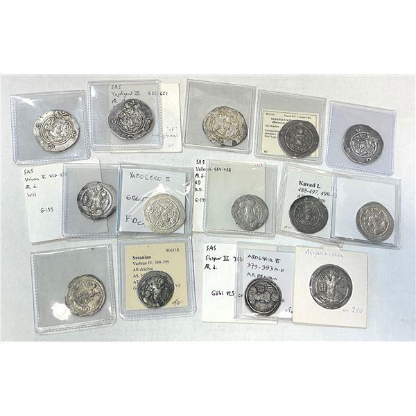 SASANIAN KINGDOM: LOT of 18 silver drachms