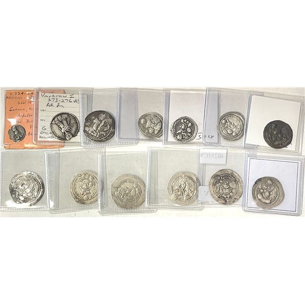 SASANIAN KINGDOM: LOT of 13 silver coins