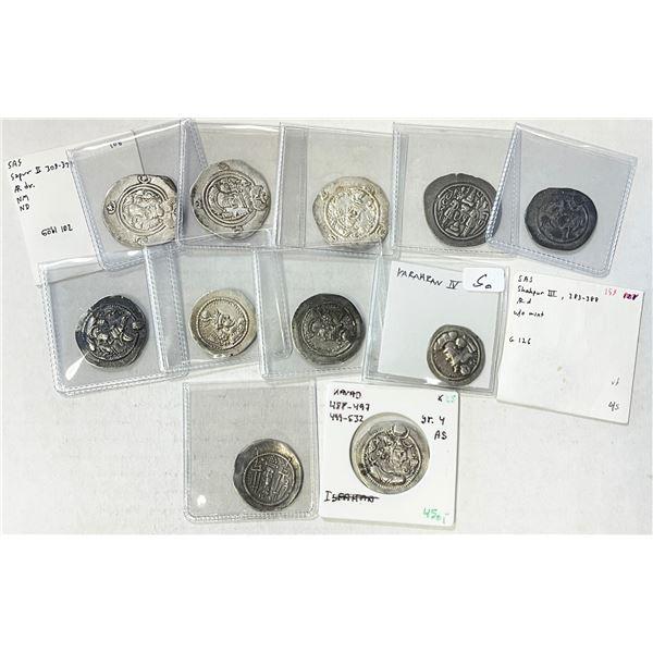 SASANIAN KINGDOM: LOT of 13 silver drachms of various rulers