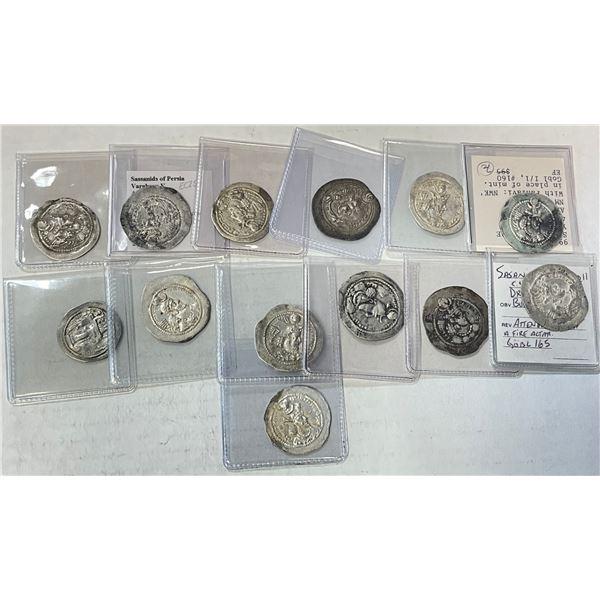 SASANIAN KINGDOM: LOT of 13 silver drachms