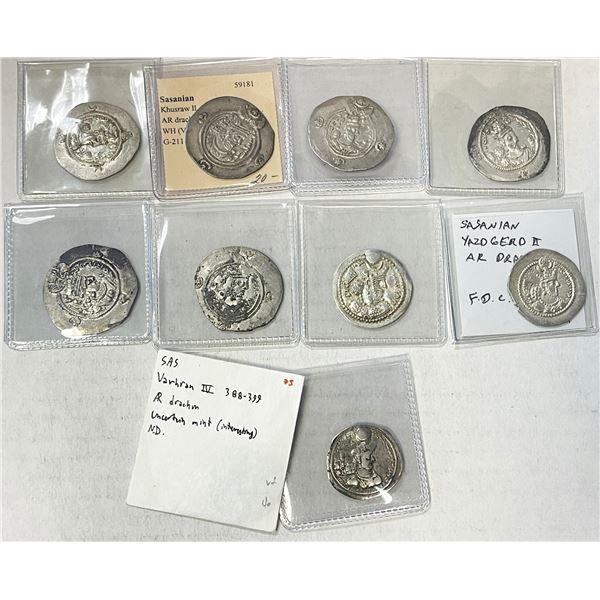 SASANIAN KINGDOM: LOT of 10 silver drachms