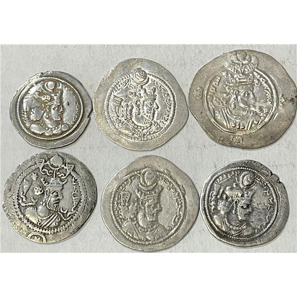 SASANIAN KINGDOM: LOT of 6 pleasing silver drachms