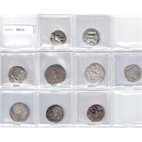 SASANIAN KINGDOM: LOT of 7 Sasanian and 2 Arab-Sasanian silver drachms