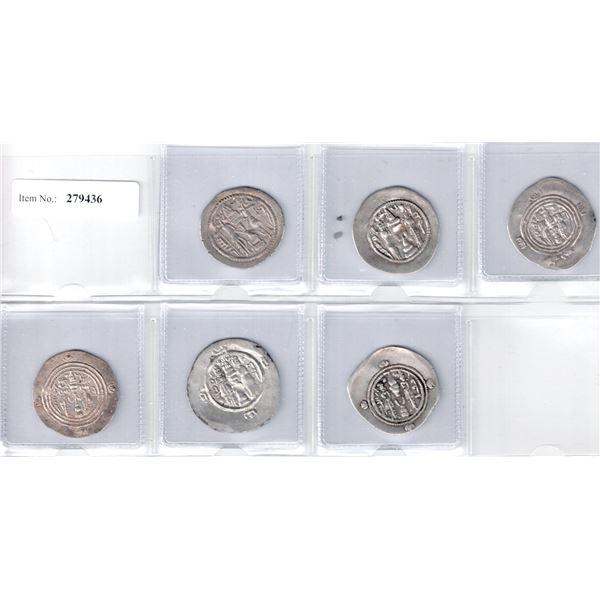 SASANIAN KINGDOM: LOT of 6 better silver drachms