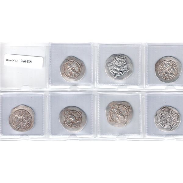 SASANIAN KINGDOM: LOT of 7 Sasanian silver drachms