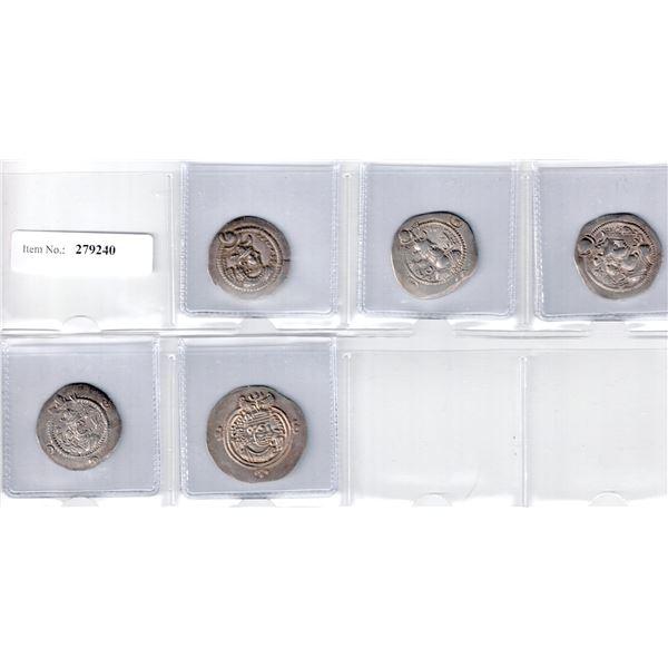 SASANIAN KINGDOM: LOT of 5 attractive silver drachms
