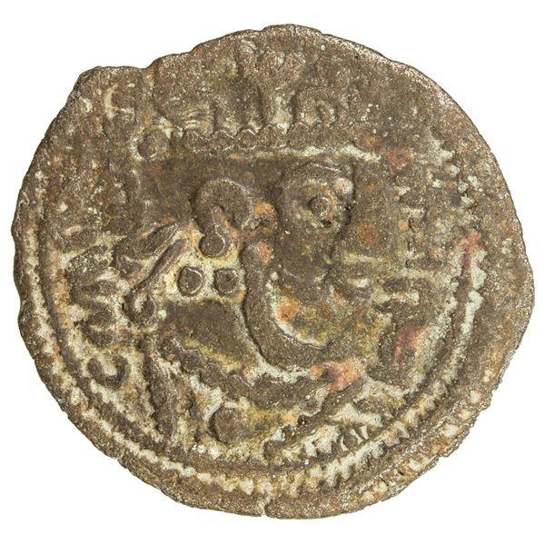 USTRUSHANA: temp. Satachary, 7th century, AE cash (1.96g). F-VF