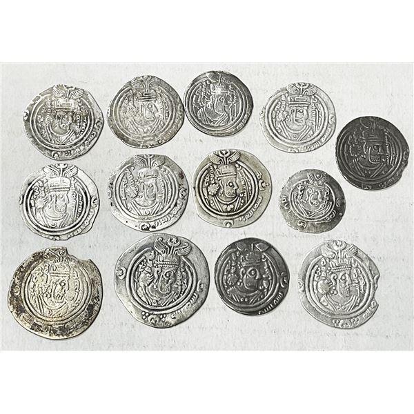 ARAB-SASANIAN: LOT of 13 silver drachms