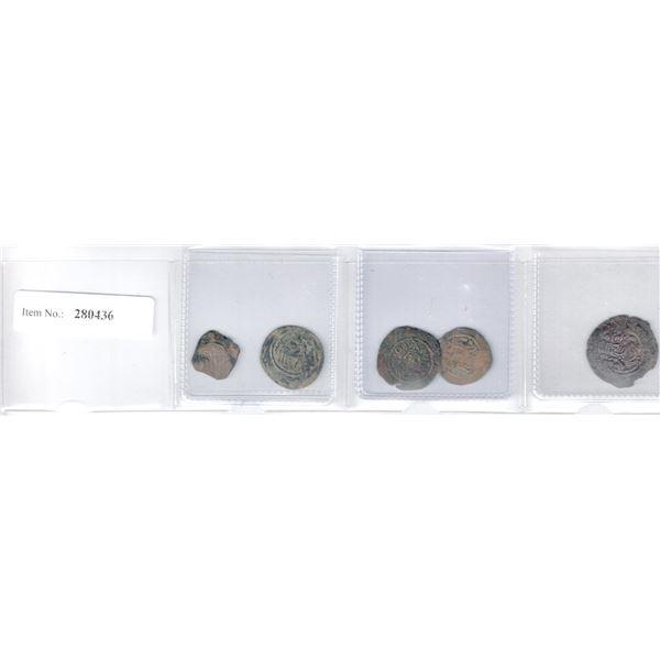 ARAB-SASANIAN: LOT of 5 copper pashiz