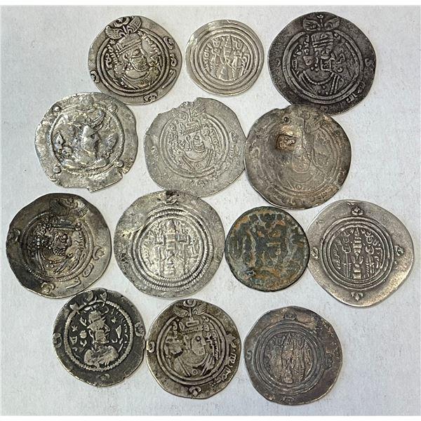 ARAB-SASANIAN & ANCIENT: LOT of 7 Arab-Sasanian and 6 ancient silver drachms
