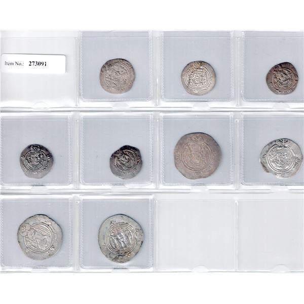 TABARISTAN & ARAB-SASANIAN: LOT of 9 silver coins