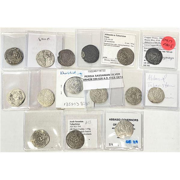 TABARISTAN: LOT of 15 silver half drachms