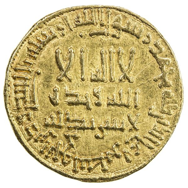 ABBASID: al-Mahdi, 775-785, AV dinar (4.24g), NM, AH166. EF