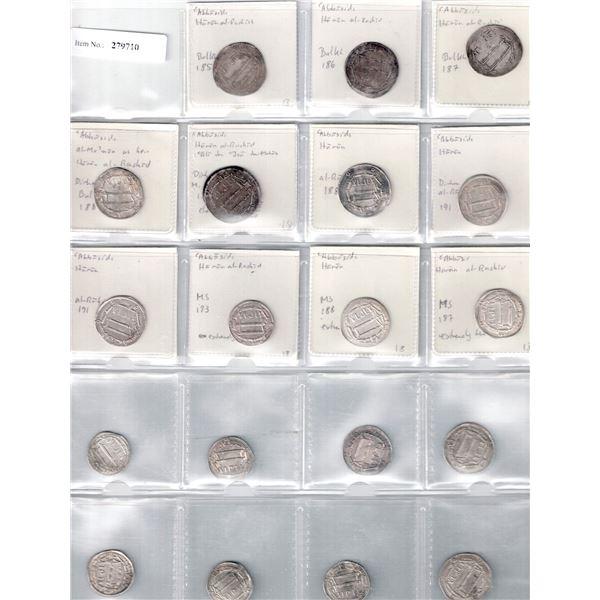 ABBASID: al-Rashid, 786-809, LOT of 19 silver dirhams
