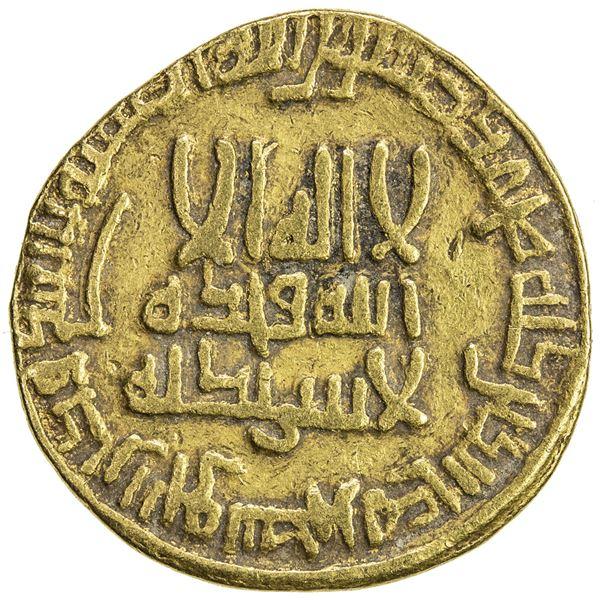 ABBASID: al-Ma'mun, 810-833, AV dinar (4.20g), NM (unknown location), AH198. VF