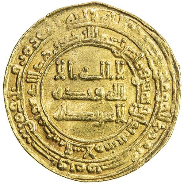 ABBASID: al-Mu'tadid, 892-902, AV dinar (4.10g), Madinat al-Salam, AH288. VF