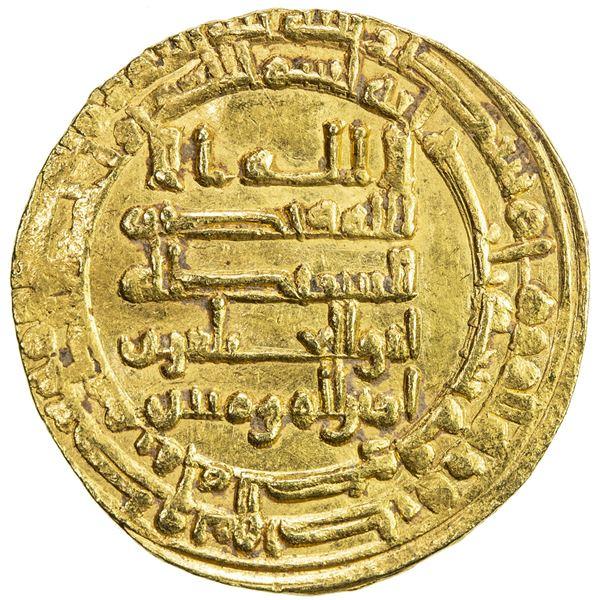 ABBASID: al-Muqtadir, 908-932, AV dinar (4.16g), Mah al-Kufa, AH300. VF-EF