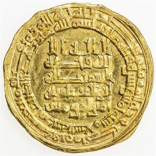 ABBASID: al-Muqtadir, 908-932, AV dinar (3.98g), Madinat al-Salam, AH315. UNC