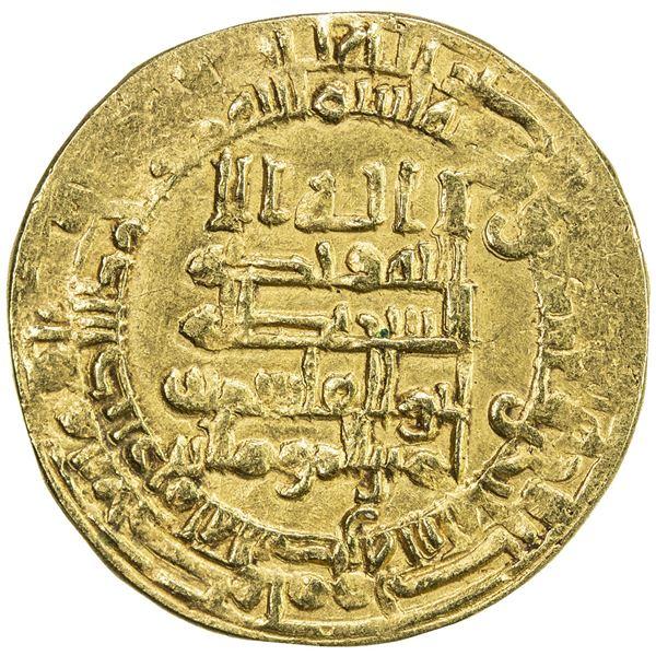 ABBASID: al-Qahir, 932-934, AV dinar (2.87g), Mah al-Basra, AH321. VF