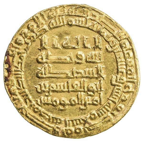 ABBASID: al-Qahir, 932-934, AV dinar (4.22g), Madinat al-Salam, AH322. AU