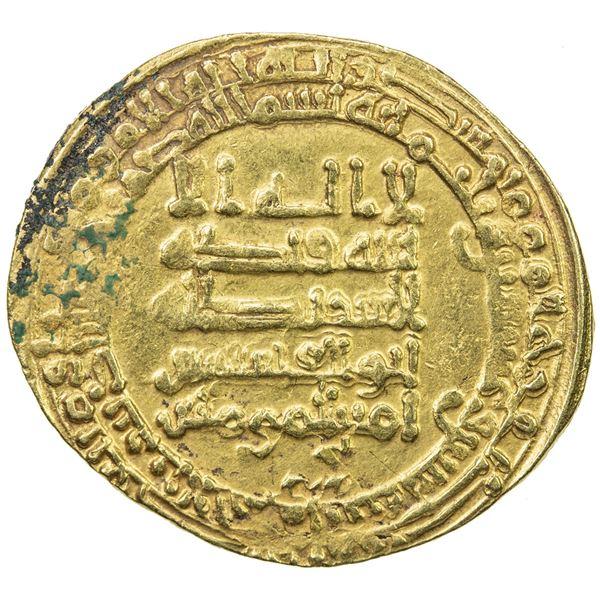 ABBASID: al-Qahir, 932-934, AV dinar (4.73g), al-Ahwaz, AH322. VF