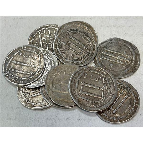 ABBASID: LOT of 12 silver dirhams