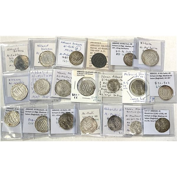 ABBASID: LOT of 20 silver dirhams representing each of the caliphs who issued regular coins