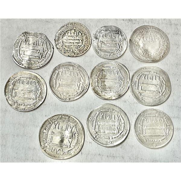 ABBASID: LOT of 11 silver dirhams