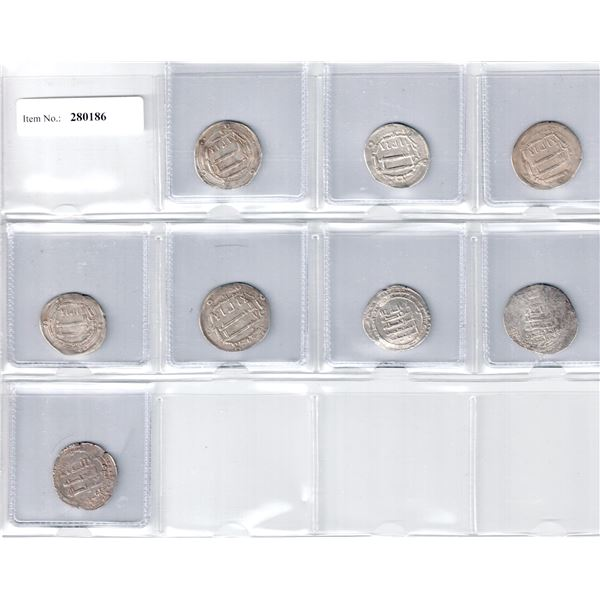 ABBASID: LOT of 8 silver dirhams, mostly scarce dates