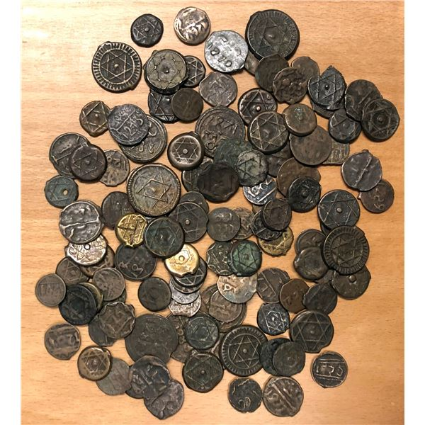 ALAWI SHARIF: LOT of 112 cast bronze coins (mostly 1 & 2 fals, plus ten 4 fals)