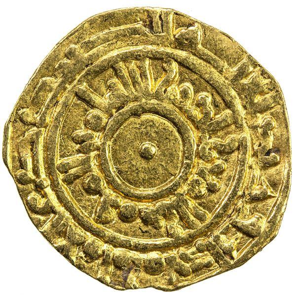 FATIMID: al-Mu'izz, 953-975, AV 1/4 dinar (0.99g), al-Mansuriya, blundered date. VF