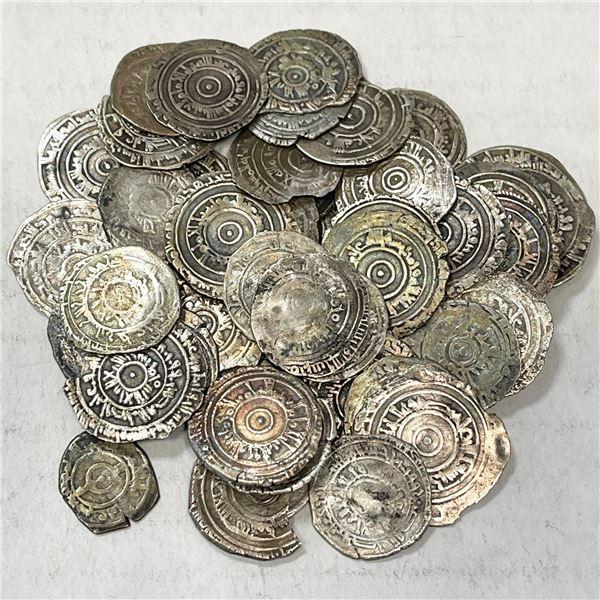 FATIMID: LOT of 51 silver half dirhams