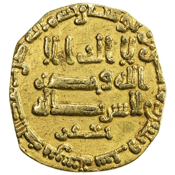 ABBASID OF YEMEN: al-Mutawakkil, 847-861, AV dinar (2.18g), NM, AH236. VF-EF