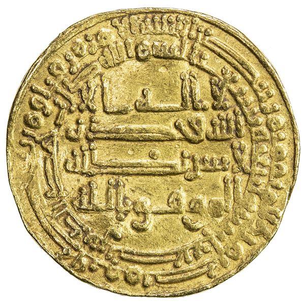 ABBASID OF YEMEN: al-Mu'tamid, 870-892, AV dinar al-mutawwaq (2.87g), San'a, AH274. VF