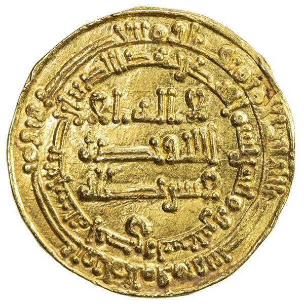 ABBASID OF YEMEN: al-Muktafi, 902-908, AV dinar al-mutawwaq (2.92g), San'a, AH290. VF