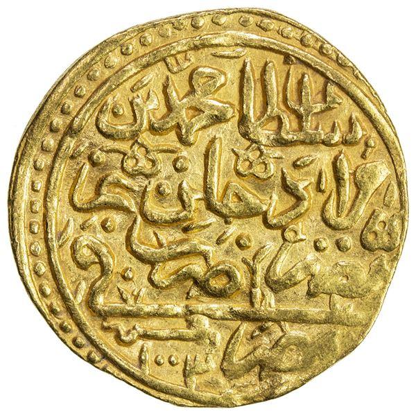 OTTOMAN EMPIRE: Mehmet III, 1595-1603, AV sultani (3.39g), Misr, AH1003. VF-EF