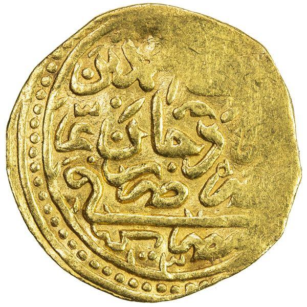 OTTOMAN EMPIRE: Mehmet III, 1595-1603, AV sultani (3.41g), Misr, AH1003. VF